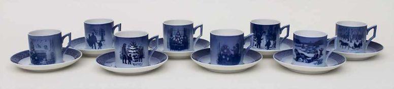 8 Weihnachtstassen mit Untertassen / 8 Christmas cups and saucers, Royal Copenhagen, 20. Jh., 1979-