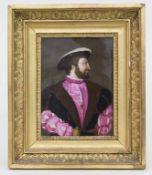 Bildplatte mit Porträt König Francois I / A porcelain plaque depicting King Francois I of France,