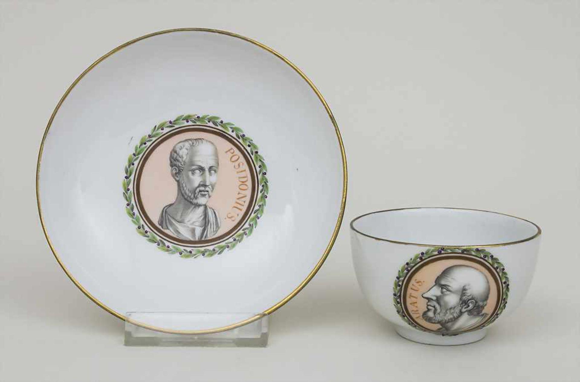 Tasse und UT mit Philosophen / A portrait cup and saucer with 2 philosophers, Meissen, letztes