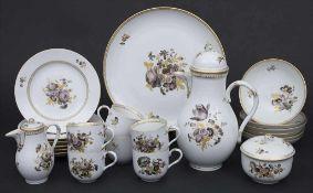 Kaffeeservice 'Sepia Blumen' für 6 Personen / A coffee set 'Sepia flowers' for 6 persons, Meissen,