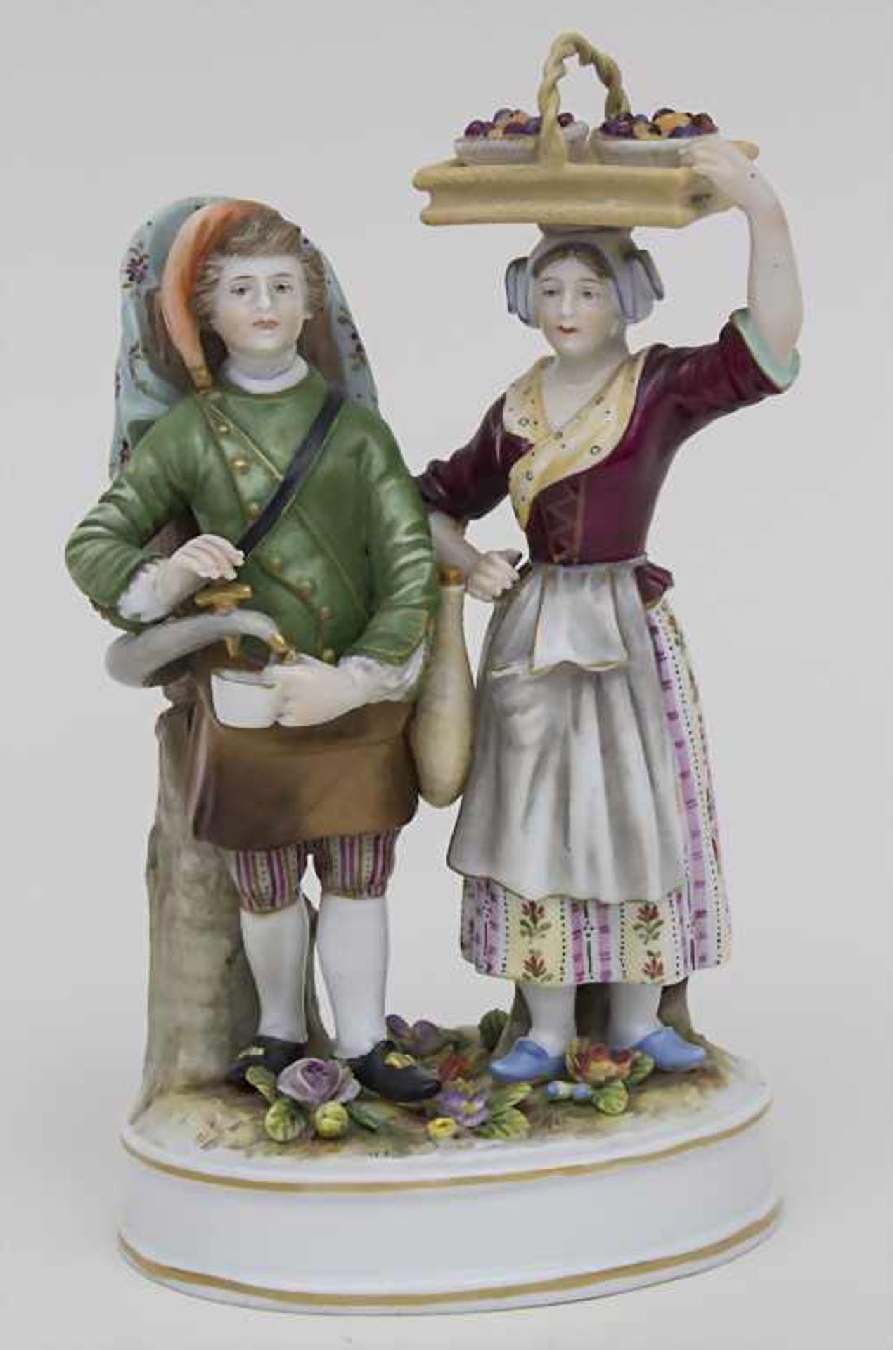 Figurengruppe 'Marktverkäufer' / A figural group 'market sellers', Volkstedt-Rudolstadt, um 1900
