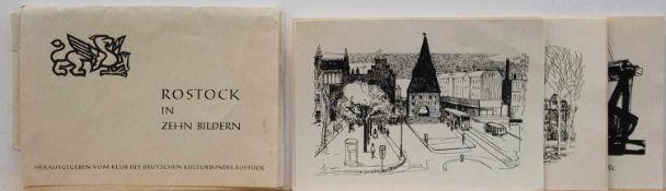 """Diverse Künstler """"Rostock in zehn Bildern"""" - Kulturbund Rostock 1960er Jahre, 10 Grafiken in"""