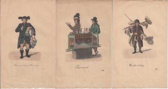Kupferstecher des 19. Jh. 3 Berufs-Darstellungen handcolorierte Kupferstiche, 24 x 15 cm (