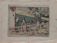 Utagawa Toyokuni II (1777 (?) - 1835 Edo, Meister des japanischen Farbholzschnittes) 3 Frauen im