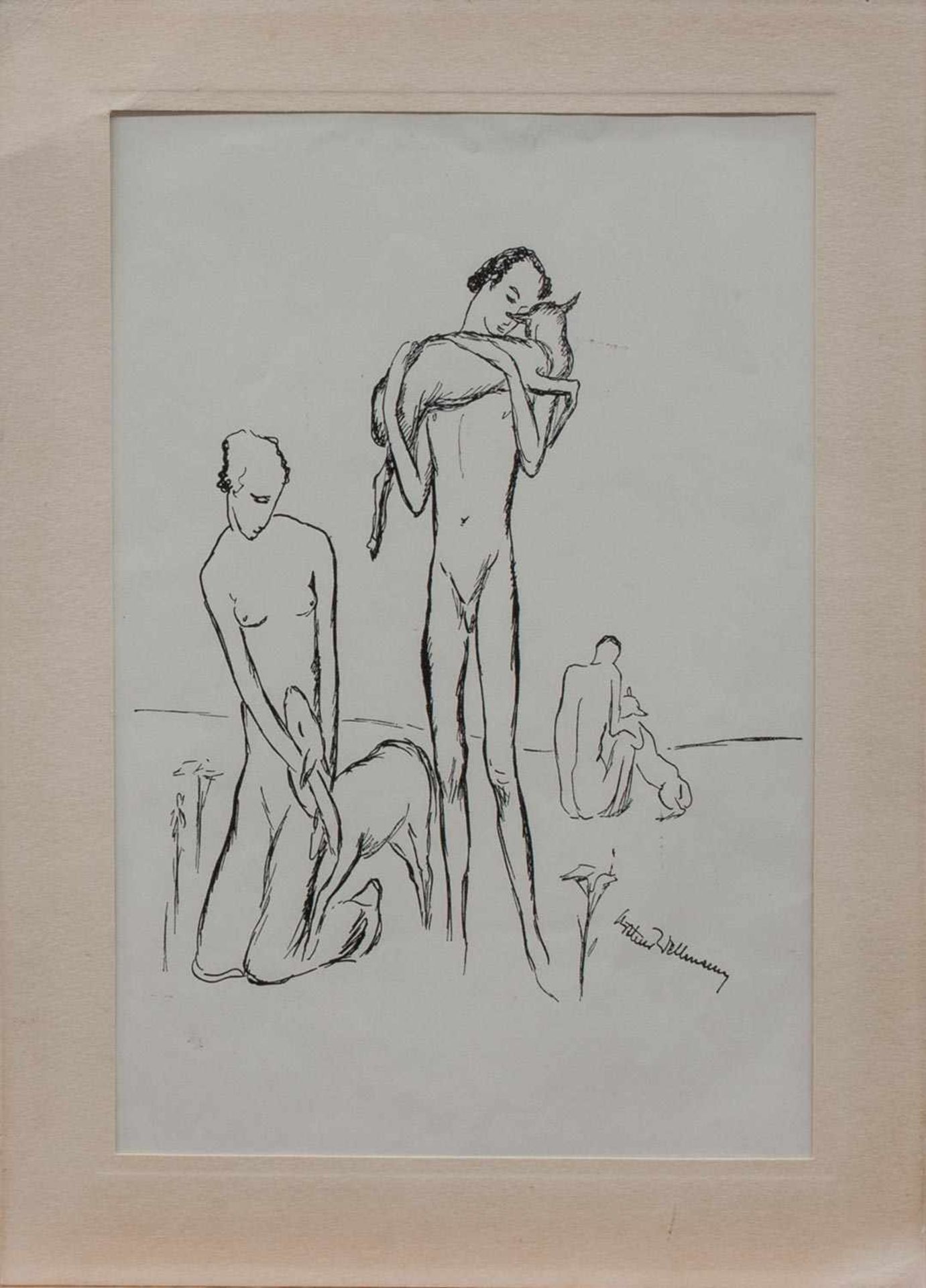 Arthur Wellmann (Magdeburg 1885 - 1970 Berlin, deutscher Grafiker, Zeichner und Bildhauer,