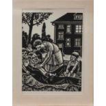 Pape (deutscher Holzschneider d. 1. Hälfte d. 20. Jh.)FamilienglückOriginal Holzschnitt, 20 x 14 cm,