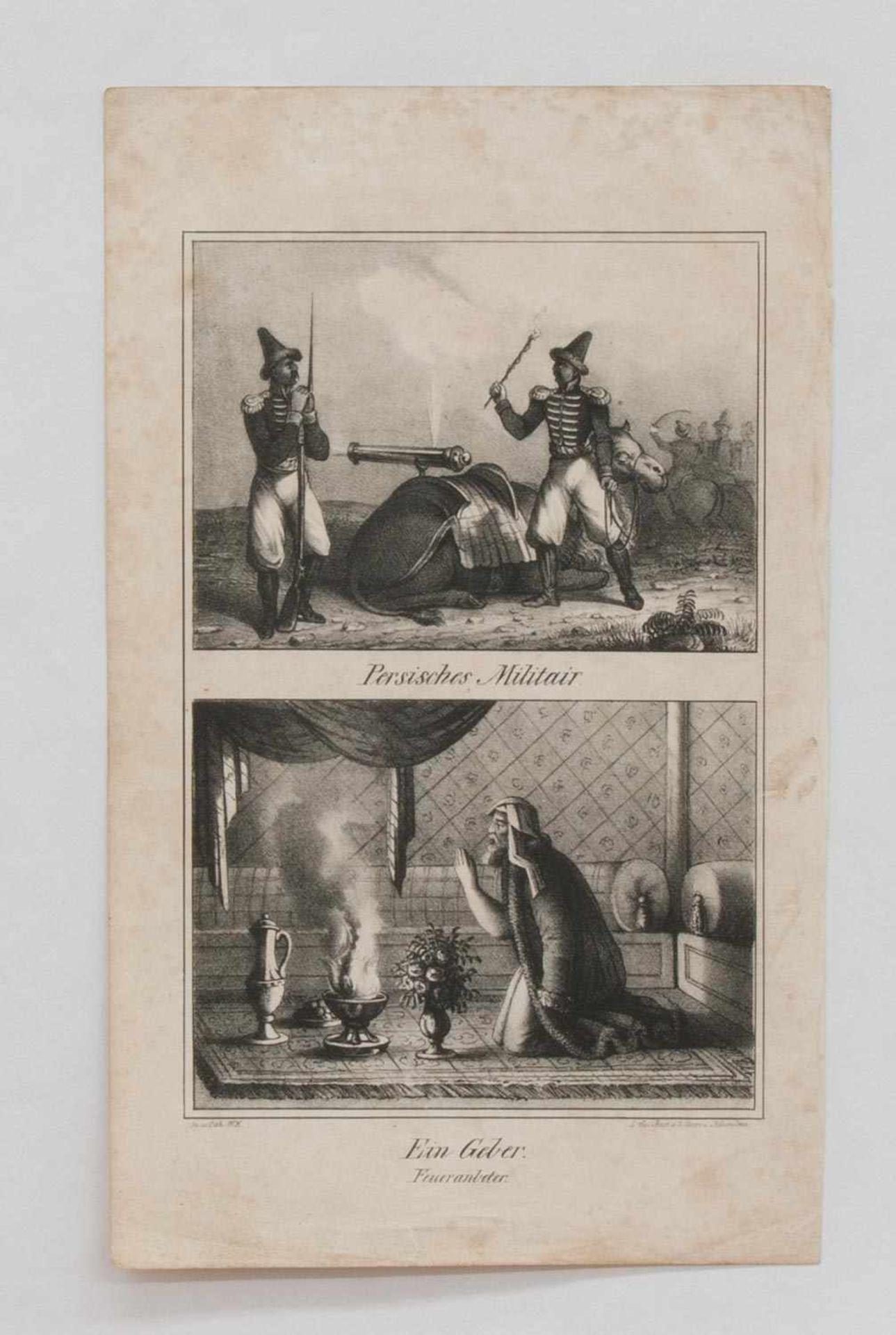 """Stahlstich """"Persisches Militair"""" - """"Ein Geber-Feueranbeter""""2 Stahlstiche auf einem Blatt um 1850,"""