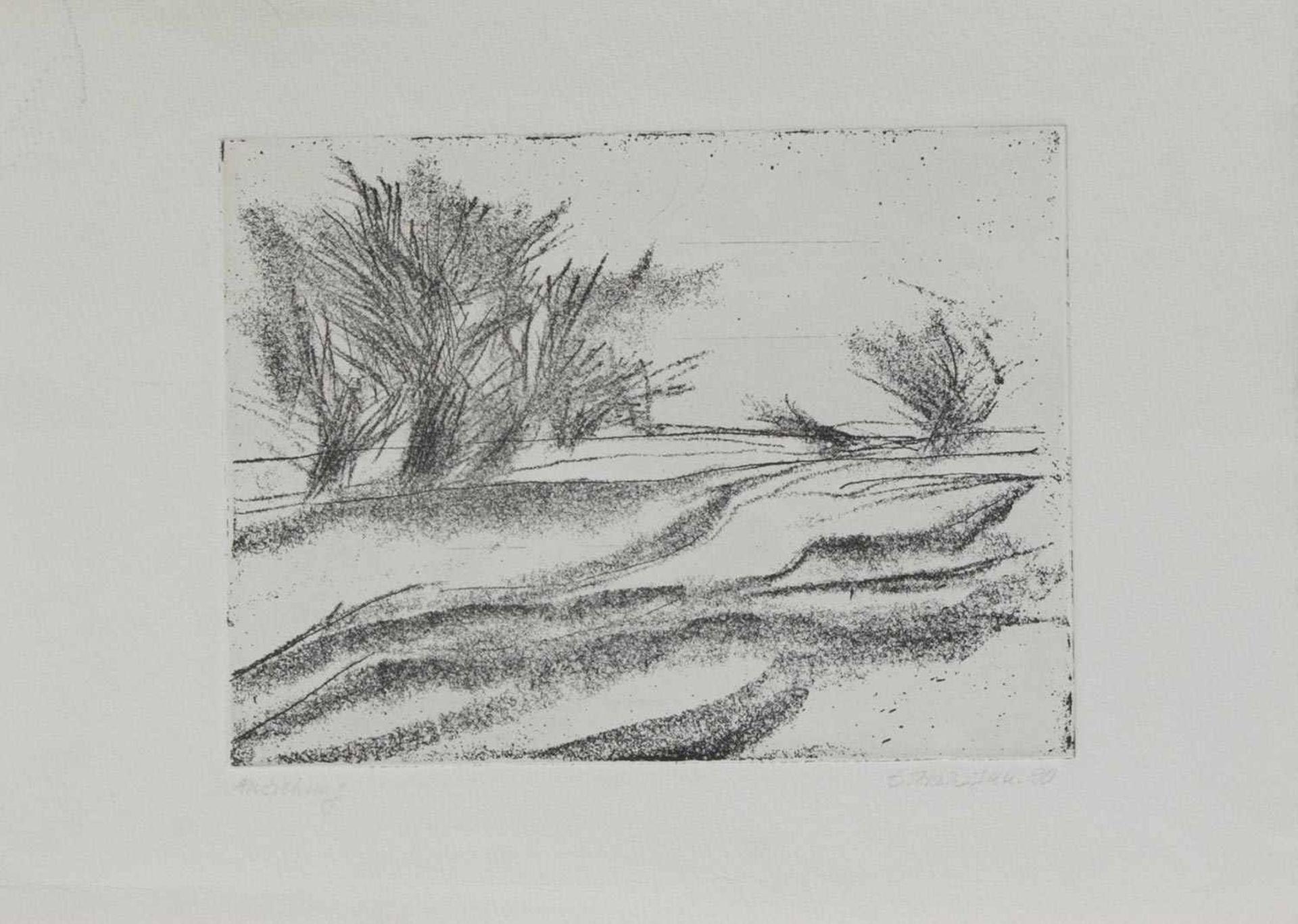 Unbekannt (Grafiker u. Zeichner d. 20. Jh.)AnziehungOriginal Radierung, 15 x 20 cm, unger., undeutl.