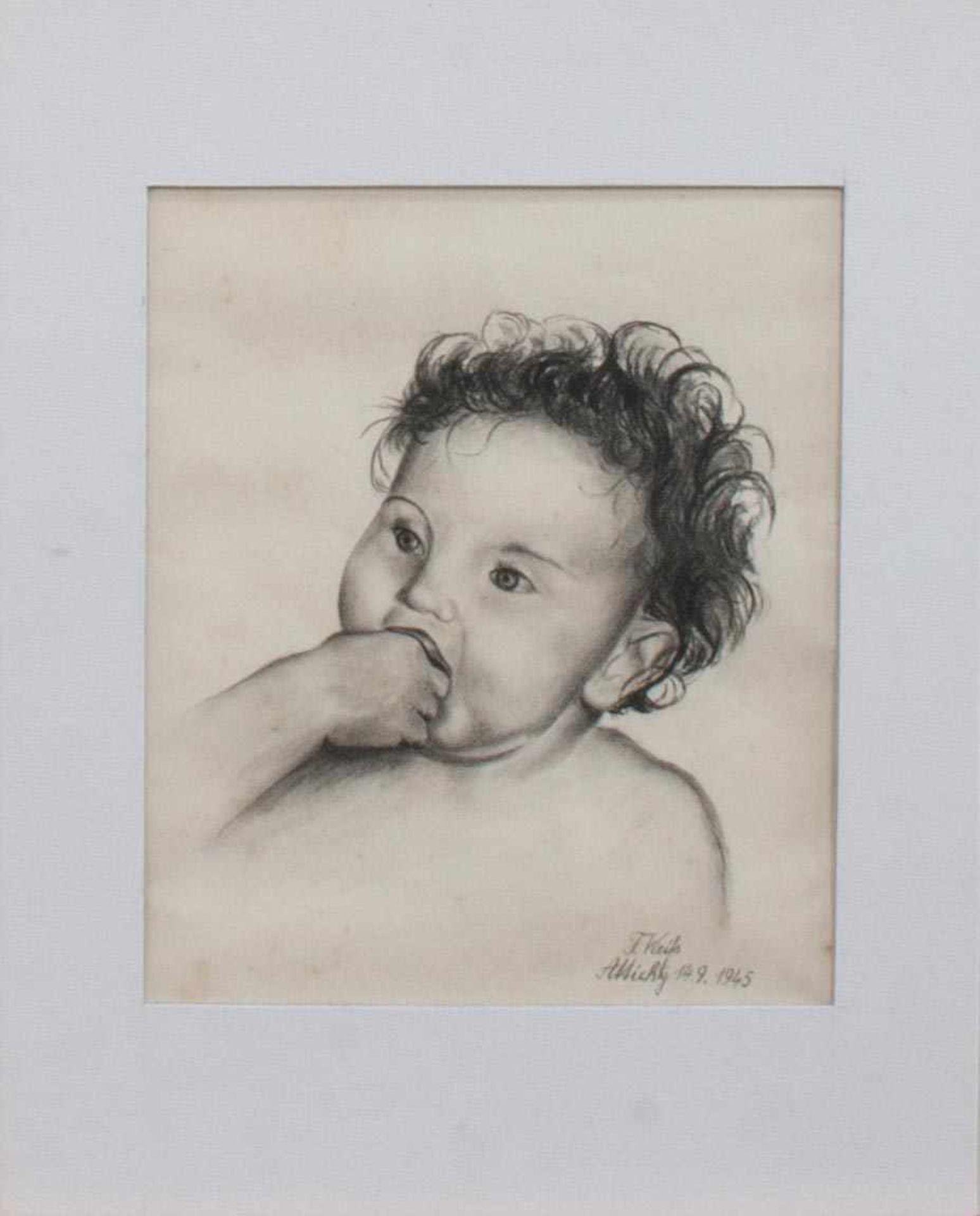 F. Weiss (Süddeutscher Bildnismaler der ersten Hälfte des 20. Jh.)Kinderbildnisfeine Kohlezeichnung,