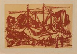Senger (deutscher Grafiker u. Zeichner) Das Zirkuszelt Original Grafik, 24,5 x 53 cm, unger.,