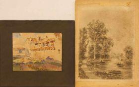 Posten 11 Aquarelle u. Zeichnungen verschiedener Künstler, ab ca. 1870, z.T. sign., Russland/