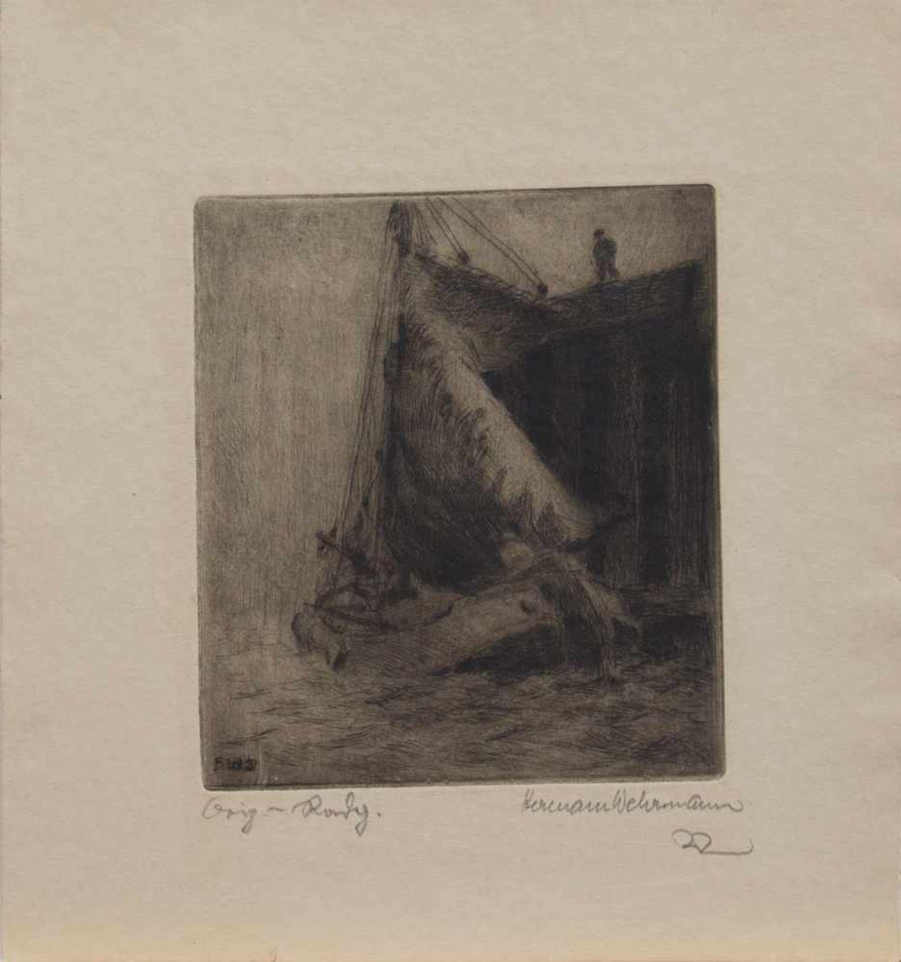Los 58 - Hermann Wehrmann (Hamburg 1897 - 1977 Glücksstadt, deutscher Maler, Grafiker u. Restaurator, Std.