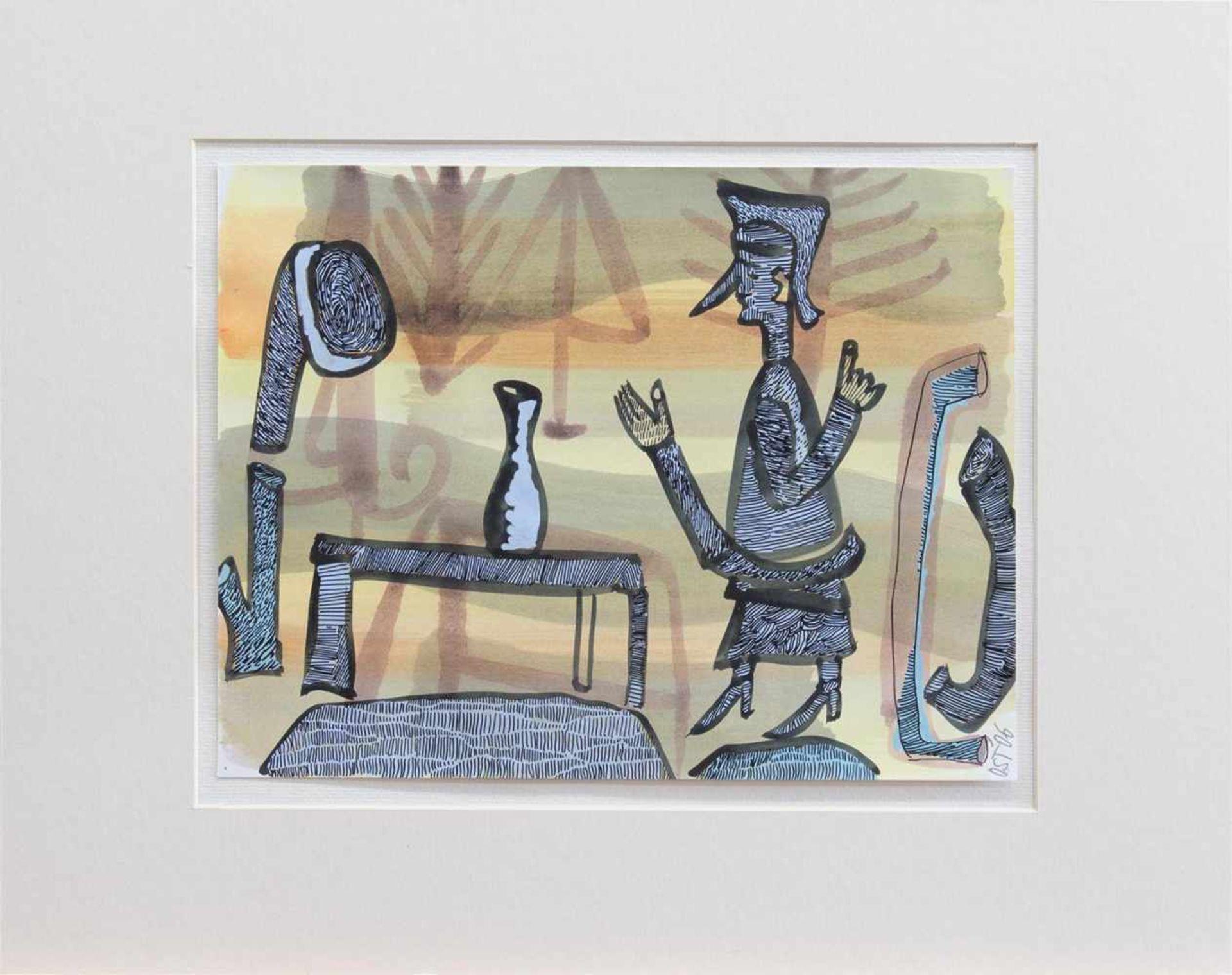 Los 45 - Otto Sander Tischbein (Osmarsleben 1949 - , deutscher Grafiker u. Maler, Std. a. d. HS f. Bildende