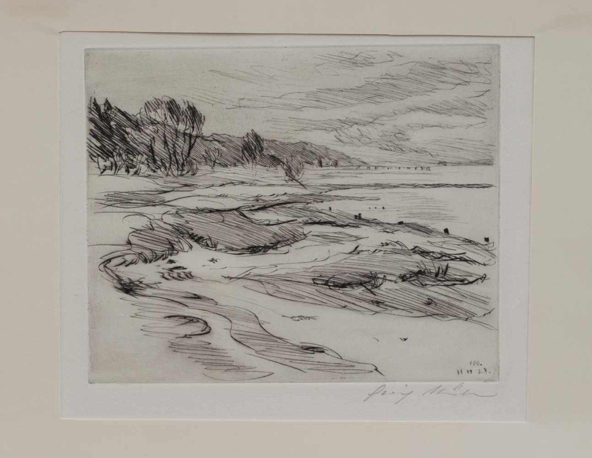Los 33 - Heinrich Müller (Hamburger Landschaftsmaler, Zeichner u. Grafiker d. 19./ 20. Jh.) Elbstrand bei