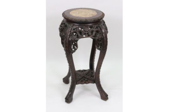 A Chinese Rosewood Vase Stand Late 19th Century The Circular Rouge