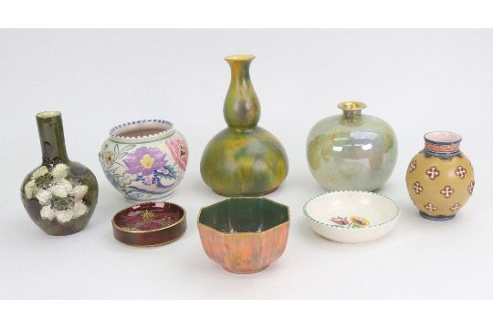 A Group Of Decorative Pottery Vases Including Wilkinsons Oriflamme