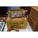 A Colmans advertising box and a Liptons advertising box