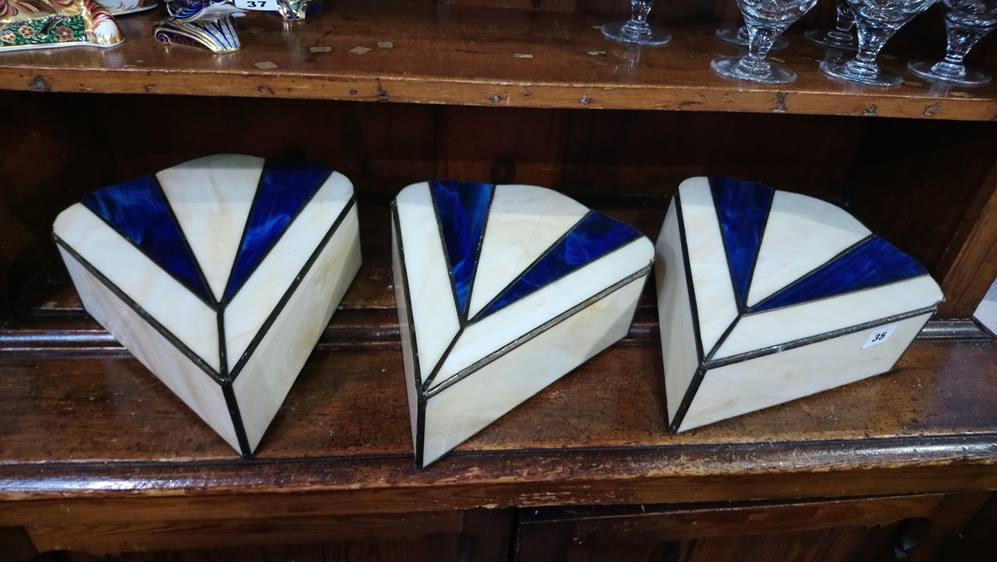 Three Art Deco style shades