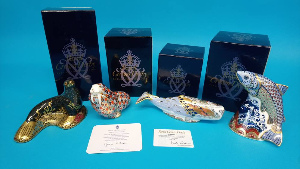 Four Royal Crown Derby paperweights 'Oceanic whale