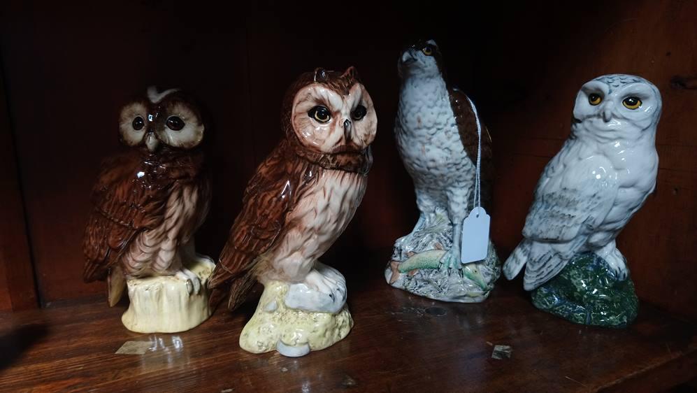 Beswick 'Beneagles' and three Doulton owls
