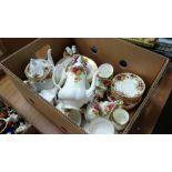 Box of Royal Albert 'Old Country Roses' etc.