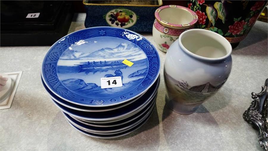 Royal Copenhagen vase and nine plates