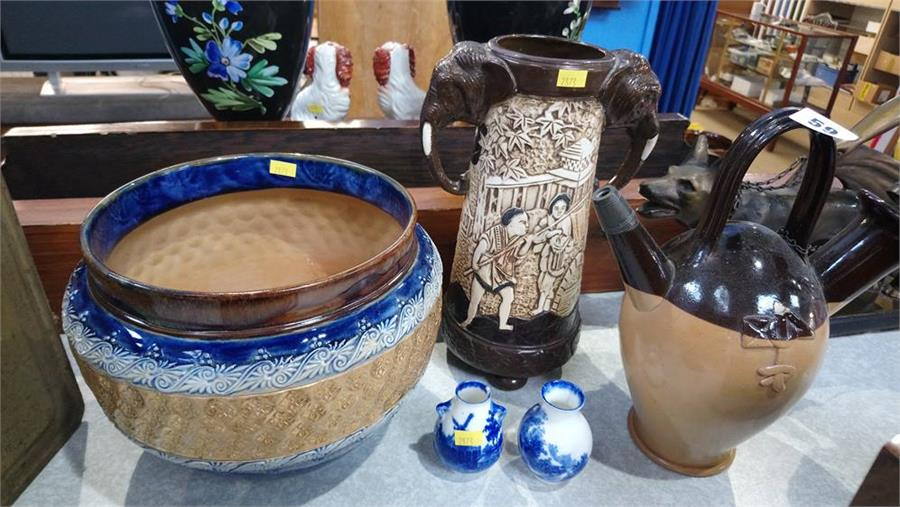 Royal Doulton stoneware Sarum kettle and Jardinier