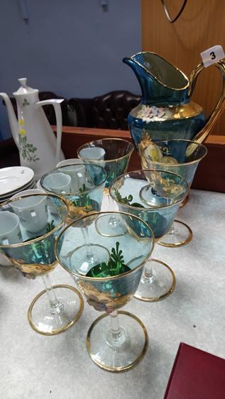 An Italian glass juice set