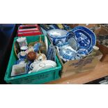 Two boxes of blue and white and other china