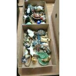 Two trays of Beswick and Worcester etc.