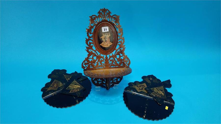 Lot 21 - A pair of Italian walnut and marquetry fretwork folding wall shelves and a pair of lacquered