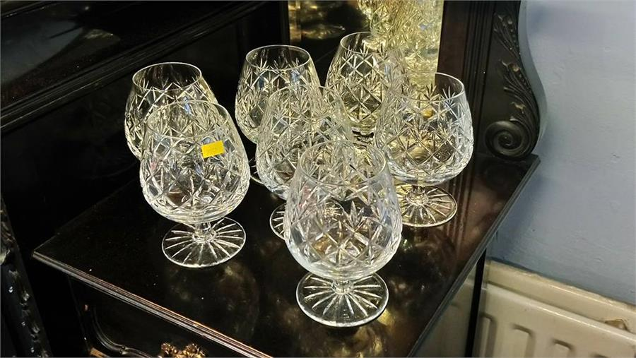 Lot 22 - A suite of thirty Edinburgh cut crystal glasses and a set of six Royal Doulton glasses.