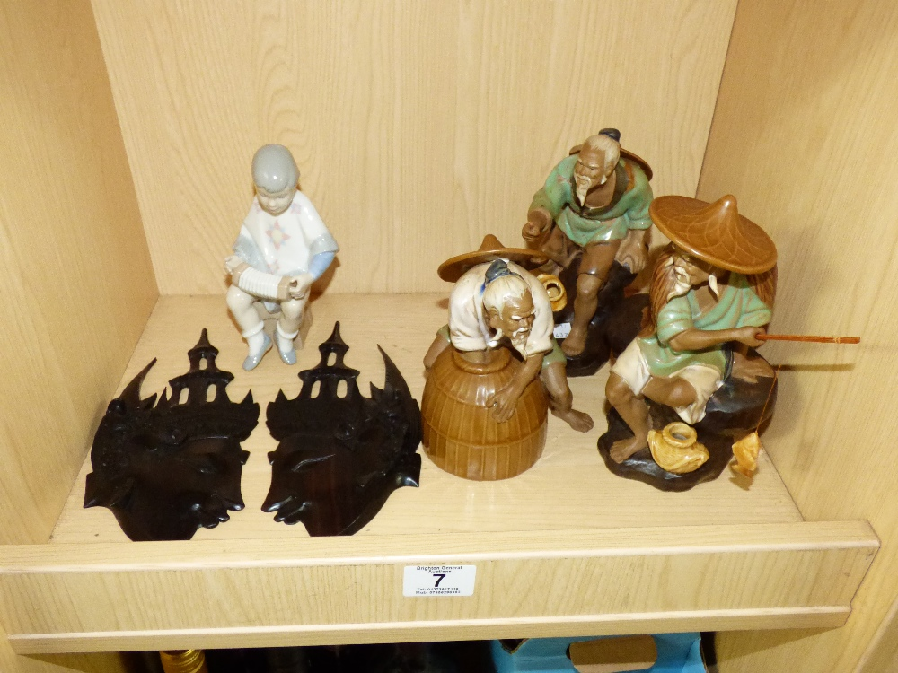 Lot 7 - MIXED LOT INCLUDING ORIENTAL FIGURES AND WOODEN FACE PLAQUES