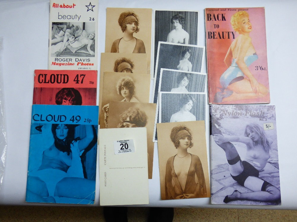 Lot 20 - QUANTITY OF ADULT MAGAZINES, POSTCARDS & PHOTOS INCLUDING CLOUD & NYLON FLASH