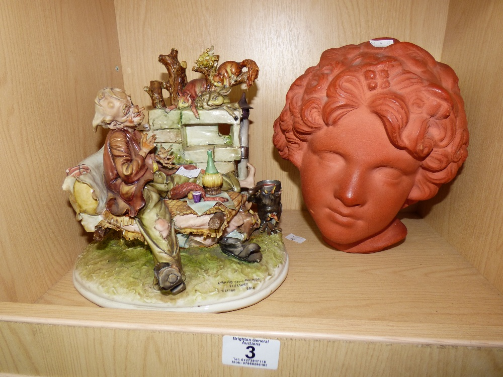 Lot 3 - HAND PAINTED ITALIAN PORCELAIN SCULPTURE & TERRACOTTA HEAD OF A WOMAN