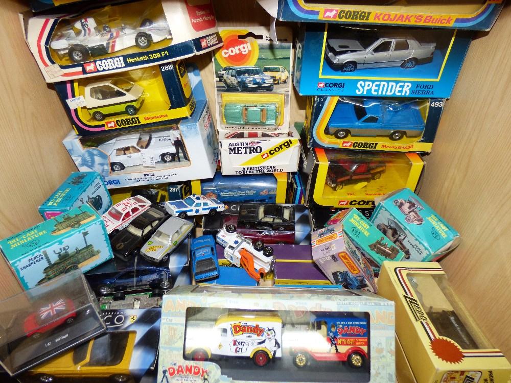Lot 2 - QUANTITY OF TOY CARS, SOME BOXED, INCLUDING CORGI & MATCHBOX