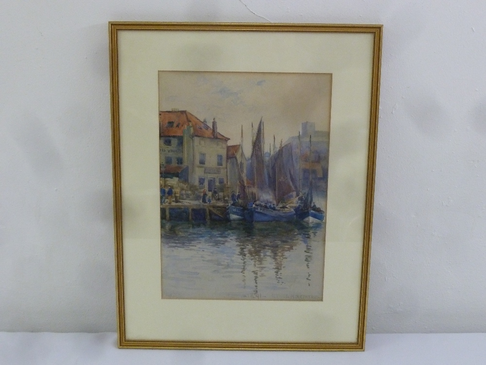 Lot 67 - Ethel Kirkpatrick 1869-1966 framed and glazed watercolour of sailing ships in a harbour, signed