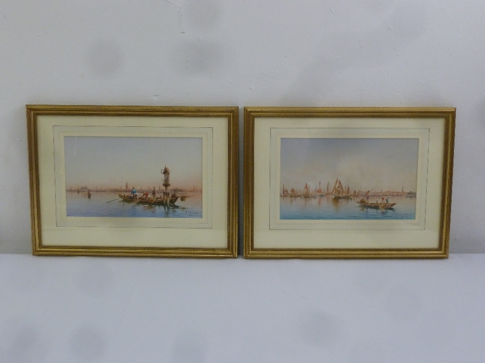 Lot 69 - Umberto Ongania 1860-1896 a pair of framed and glazed watercolours of Venice, signed bottom right,