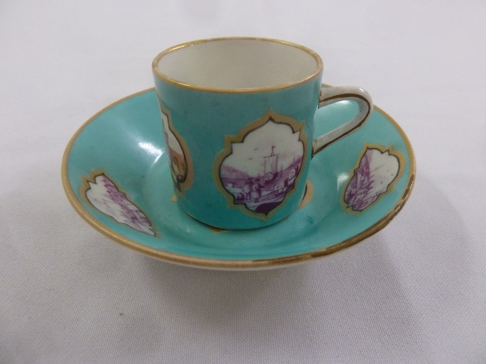 Lot 142 - Meissen 19th century cabinet cup and saucer hand painted and decorated with harbour scenes