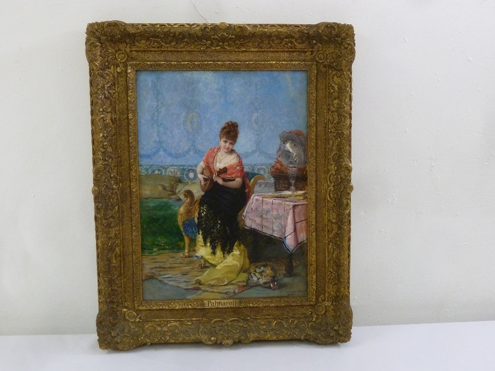 Lot 79 - Vincente Palmaroli framed oil on board of a lady playing a mandolin, signed bottom right, 39 x 28.