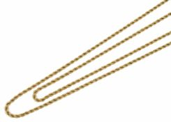 A late Victorian 9ct gold rope twist long guard chain the ends fitted with a 9ct gold clip length