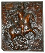 An oak caved panel, late 18th/19th century the rectangular panel carved with a knight on horseback