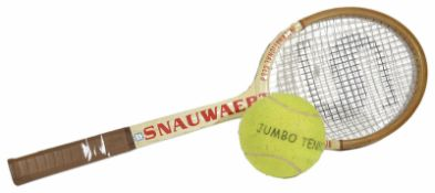 A Snauwaert oversized wooden tennis racket and tennis ball, possibly used for advertising purposes