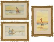GM Avondale (20th Century) three gilt framed watercolours of Venetian boats in full sail, each
