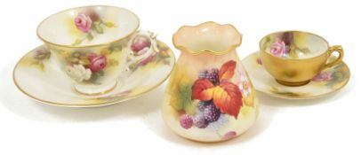 A small collection of Worcester including a small vase by Kitty Blake with fluted rim hand painted