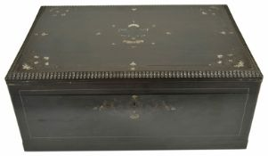 An ebonised mother of pearl inlaid writing box, 19th century of rectangular form with brass