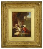 Zacharias Noterman (Belgium 1820-1890) Monkey with a fiddle in a red coat stealing from the dog