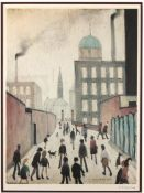 Laurence Stephen Lowry RA (British 1887-1976) Mrs Swindells picture; figures in a street', limited