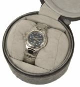 A TAG Heuer Ladies stainless bracelet watch, the black dial with baton hands Arabic hour and