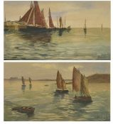 F Hebert, (French) a pair of watercolours depicting boats in full sail, in a maplewood frames,